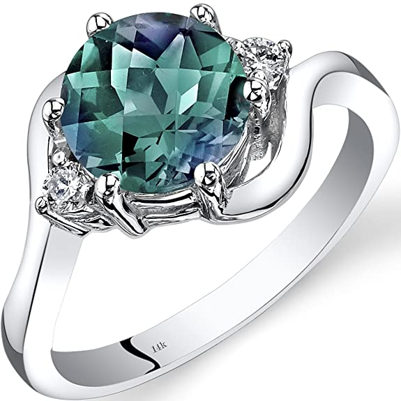 Revoni 14ct White Gold Created Alexandrite Diamond 3 Stone Ring 2.25 Carat