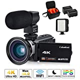 4K Camcorder Vlogging Video Camera for YouTube CofunKool 60FPS 48MP Ultra HD WiFi Night Vision 16X Digital Zoom with External Microphone Wide Angle Lens LED Video Light and Shoulder Bag (Color: 514KM-MWF, Tamaño: 86 ft Range)