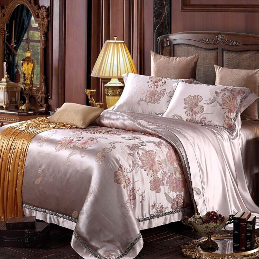 Bingirl 5pcs Silk Bedding Sheets Set 100 Mulberry Silk 22mm Seamless Jacquard California King