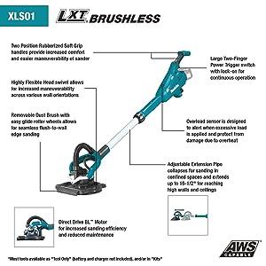 Makita XLS01T 18V LXT Lithium-Ion Brushless Cordless 9 Drywall Sander Kit, AWS Capable (5.0Ah)