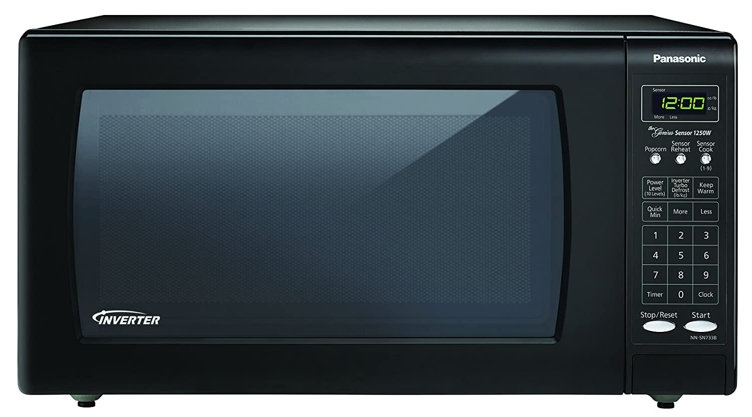 Panasonic nn sn733b black stainless steel 1 6 cubic foot for Built in microwave 24 inches wide