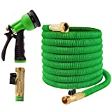 Joeys Garden Expandable Garden Hose - 100 Feet Green - Extra Strong Stretch Material with Brass Connectors - Bonus 8 Way Spray Nozzle Included (Color: Green, Tamaño: 100 Feet)