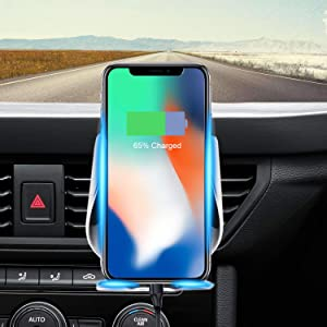 Peteme Wireless Car Charger Mount Automatic Clamping Gravity Sensor Car Phone Mount, 10W 7.5W Qi Fast Charging Air Vent Phone Holder Work with Phone XS/XS Max/XR/X/8/8+ Samsung S10/S10+ and More (Color: Black)