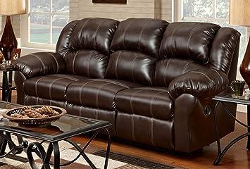 Roundhill Furniture Brandan Bonded Leather Dual Reclining Sofa, Brown