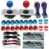 Tongmisi Arcade DIY LED Kit Zero Delay USB Encoder to PC Arcade Games 8 Way Joystick + 5V LED Illuminated Arcade Push Buttons (Red Blue) (Color: Red and Blue)