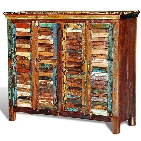 vidaXL Antik Vintage Massivholz Kommode Sideboard Schrank 4 Turen