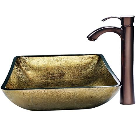 VIGO Rectangular Copper Glass Vessel Bathroom Sink and Otis Vessel Faucet with Pop Up, Oil Rubbed Bronze