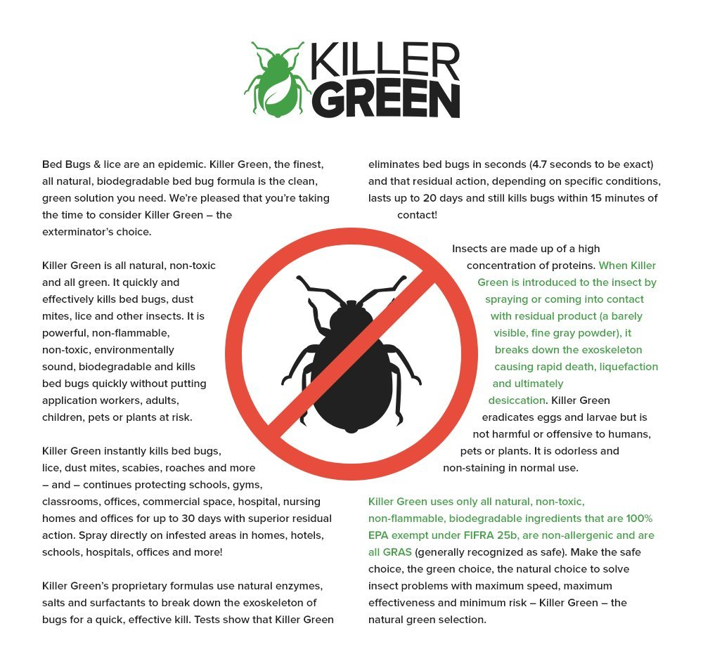 Bed Bug Spray By Killer Green - Best Non-Toxic All Natural Killer and Treatment of Bedbugs.(16 fl. oz)