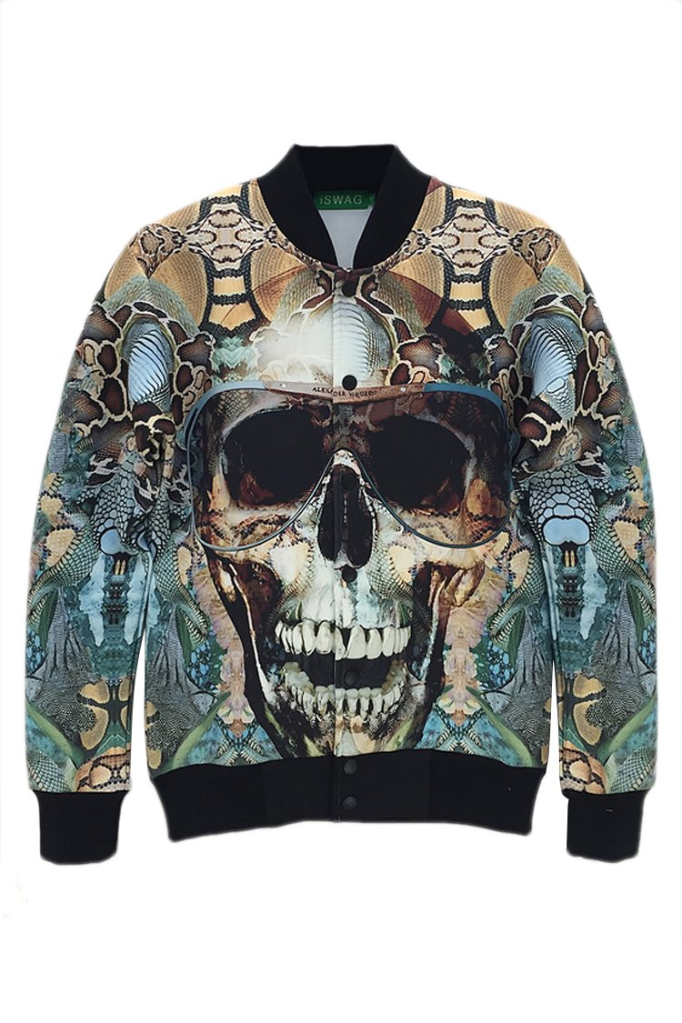 Skull Jacket 3-D Print Baseball Uniform Stand Collar Casual Coat Jacket Sweatshirt