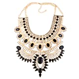 NABROJ Vintage Maxi Chunky Collar Necklace Black Gold Statement Necklace Crystal Big Choker Fashion Jewelry for Women-HL23 Black and Gold (Color: Black and Gold)