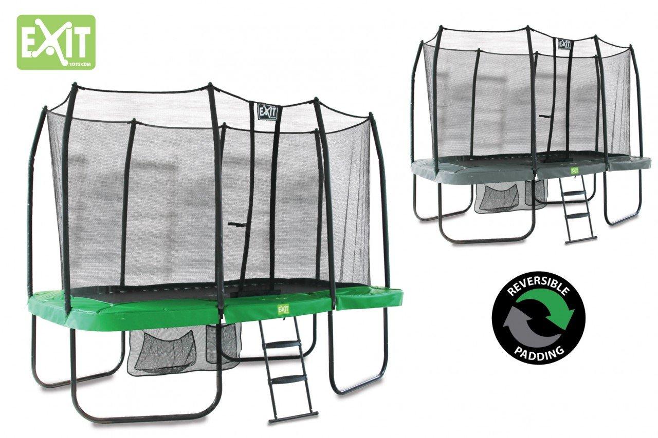 EXIT JumpArenA Rectangular All-in-1 grün/grau 244×427 / 10.96.14.02 / rechteckiges Trampolin inkl. Sicherheitsnetz, Leiter + Schuhtasche günstig online kaufen