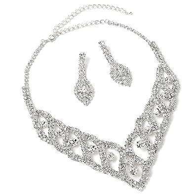 Silver Crystal Rhinestone Teardrop Dangle Earrings & Braids Accented Necklace Jewelry Set