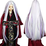 9-10 Inch 1/3 BJD SD Doll Wig Heat Resistant Fiber Long Straight White Ombre Dark Purple Halves Doll Hair SD BJD Doll Wig (Color: 1001&HTY26C, Tamaño: 1/3)