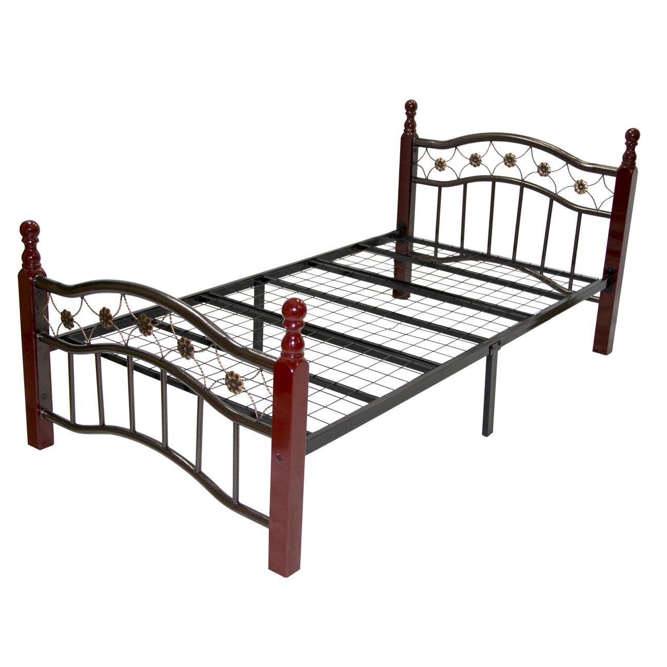 Home furnishings twin size decorative queen metal bed with wooden posts ebay Home furniture queen size bed