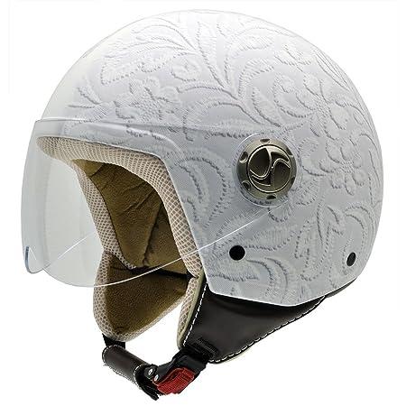 NZI 490004G327 3D Vintage II Brocado White Casque de Moto, Photographie Tissu Brocart Blanc, Taille : S