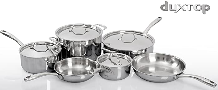 Duxtop Whole-Clad Tri-Ply Stainless Steel Cookware 10-Pc Set