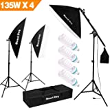 "1350W Photography Studio Lighting Kit Arm for Video and Youtube Continuous Lighting by MOUNTDOG 20x28"" Professional Shadow Boom box Lighting Set Headlight Softbox Setup with 4 PCS 5500K Daylight Bulbs (Color: 3 Softbox With 4 Bulbs, Tamaño: 3 Softbox with 4 Bulbs)"