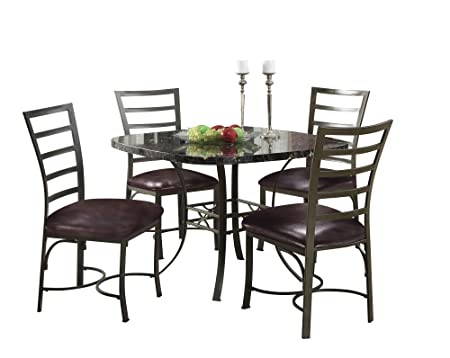ACME 70157 Daisy 5-Piece Dining Set, Black Square Faux Marble Top