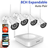 ?Expandable System? Safevant 8CH NVR Wireless Security Camera System, 4pcs 960P Indoors&Outdoors Wireless Security Cameras,65ft Night Vision,1TB HDD Pre-installed,Auto-Pair,Plug&Play (Color: 8CH NVR+4PCS 960P Cameras 1TB HDD (White), Tamaño: 960P Wireless Security Camera System)