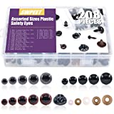 ??? Swpeet 198 Pcs Assorted Sizes 3 Color Plastic Safety Eyes and 10 Pcs Noses Set for Doll, Puppet, Plush Animal Making and Teddy Bear