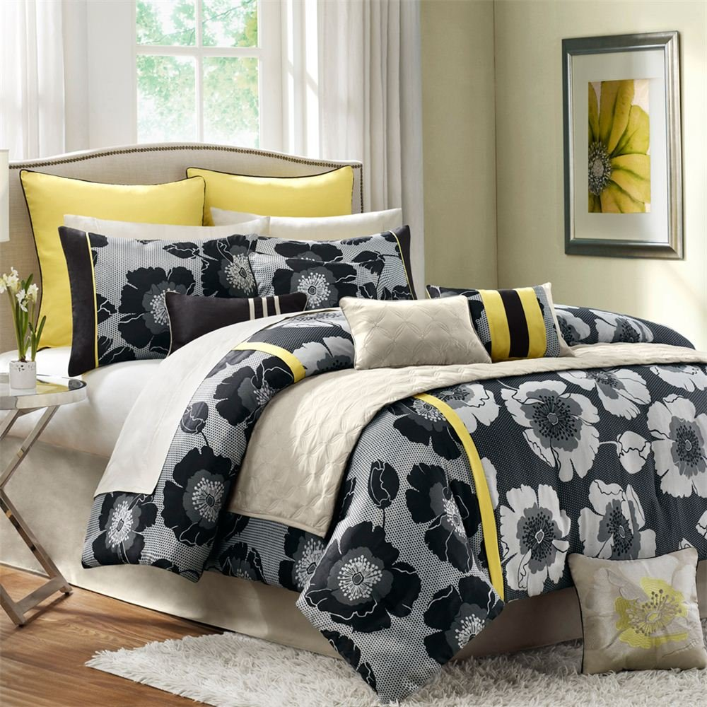 com yellow comforters sets bedding home kitchen comforter set yellow
