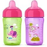 Philips Avent My Sip N Click Cup, 12oz, 2pk, Purple/Green, SCF555/22 (Color: Purple/Green)