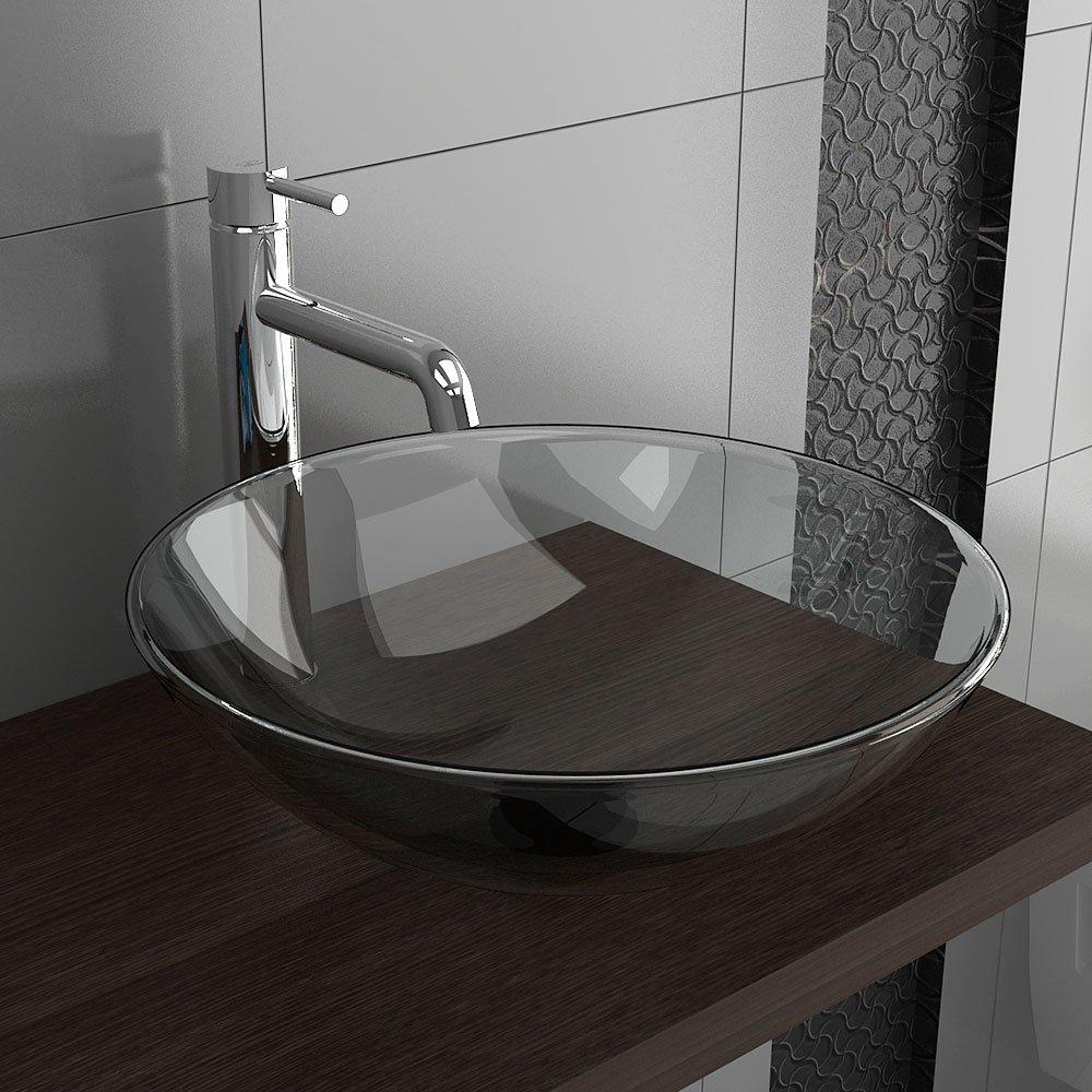 Glaswaschbecken / Klarglasschale / Klarglaswaschschale Ø 420 mm / Glaswaschschale / Glas / Badezimmer / Möbel aus Glas / GästeWC / Waschschale / Waschbecken / Waschplatz / Alpenberger   Überprüfung und Beschreibung