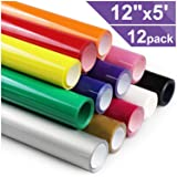 Heat Transfer Vinyl HTV for T-Shirts 12 Inches by 5 Feet Rolls (12 Pack) (Color: MANY COLOR, Tamaño: 2.786)