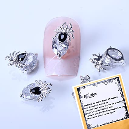 Bling bling 5 pcs BIG Charming Special Zircon Nail Art Decals Sivery Spider Punk Nail Art Style