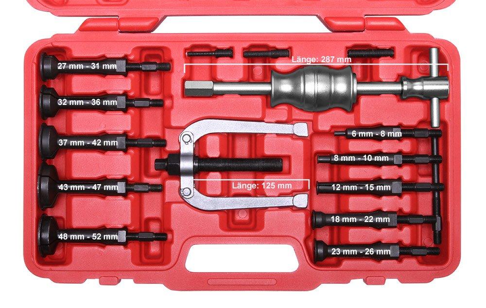 15 tlg. Innenlager Grundloch Abzieher Satz mit Zweiarm Auszieher Werkzeug Lager  BaumarktRezension