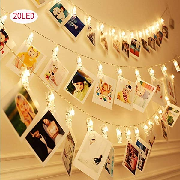LED Photo String Lights 20 Clips Battery Powered Lights, Wedding Party Home Decor Lights for Hanging Photos, Cards and Artwork (8.2 Foot.) Warm White