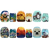 Mama Koala One Size Baby Washable Reusable Pocket Cloth Diapers, 6 Pack with 6 One Size Microfiber Inserts (Amazing Animals) (Color: Amazing Animals, Tamaño: One Size)