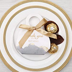 Doris Home 50 pcs Birthday Wedding Party Favor, Wedding Gift Bags Chocolate Candy and Gift Boxes Bridal Shower Party Paper Gift Box Gray Boxes with Ribbons (Gray 2.5x3x1.3 inch) (Color: Gray 2.5x3x1.3 Inch)