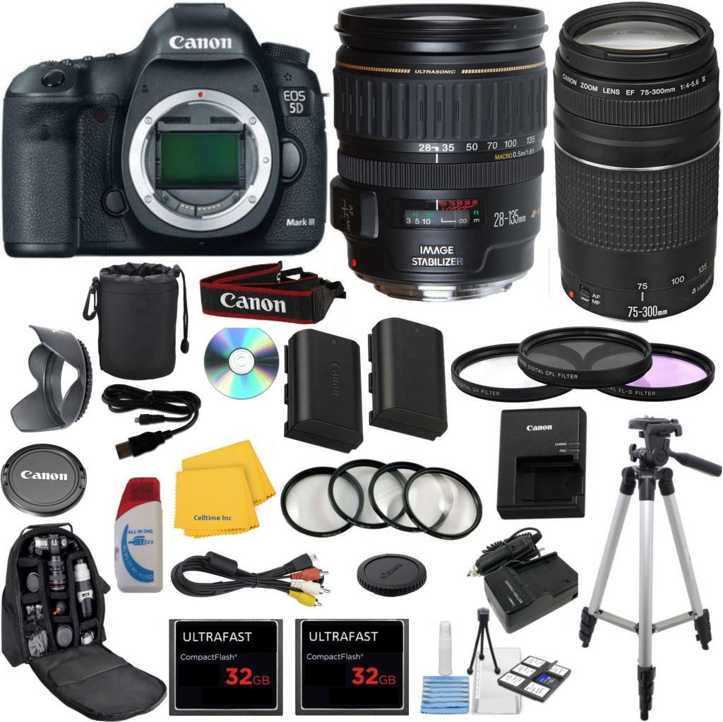 Canon EOS 5D Mark III 22.3 MP Full Frame CMOS Digital SLR Camera with Canon EF 28-135mm f/3.5-5.6 IS USM Standard Zoom Lens Celltime Exclusive Bundle with Canon 75-300mm III Zoom Lens  ..