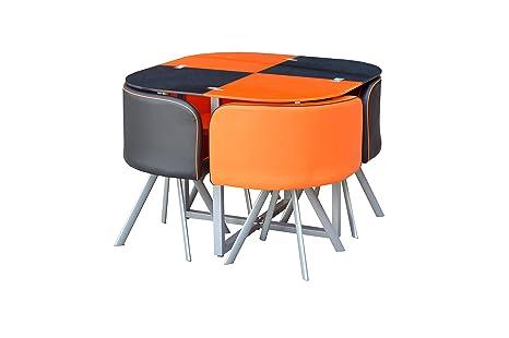 Glas-Esstisch und 4Stuhle aus Kunstleder, platzsparend, schwarz und orange