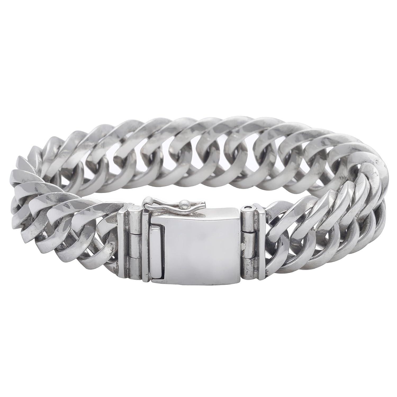 Silverly Herren Damen 925 Sterling Silber 15 mm Massivschwer Klobig Kandare Kettenarmband, 21 cm als Weihnachtsgeschenk kaufen