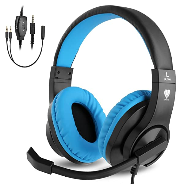 BlueFire 3.5mm PS4 Gaming Headset Bass Stereo Over-Ear Gaming Headphone with Microphone and Volume Control Compatible with PS4, New Xbox One, Xbox One S, Xbox One X, Nintendo Switch, PC(Blue) (Color: Blue)