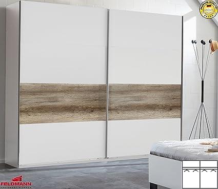 Schwebeturenschrank Kleiderschrank 883058 weiß / wildeiche 225cm inkl. Passepartoutrahmen