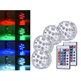 DealKits Submersible Led Lights [Multi Color Remote Controlled Submersible LED Lights - 4 Pack] LinkBro 10 LED IR Controlled Submersible Light Aquarium, Pond, Party, Halloween, Christmas Lighting