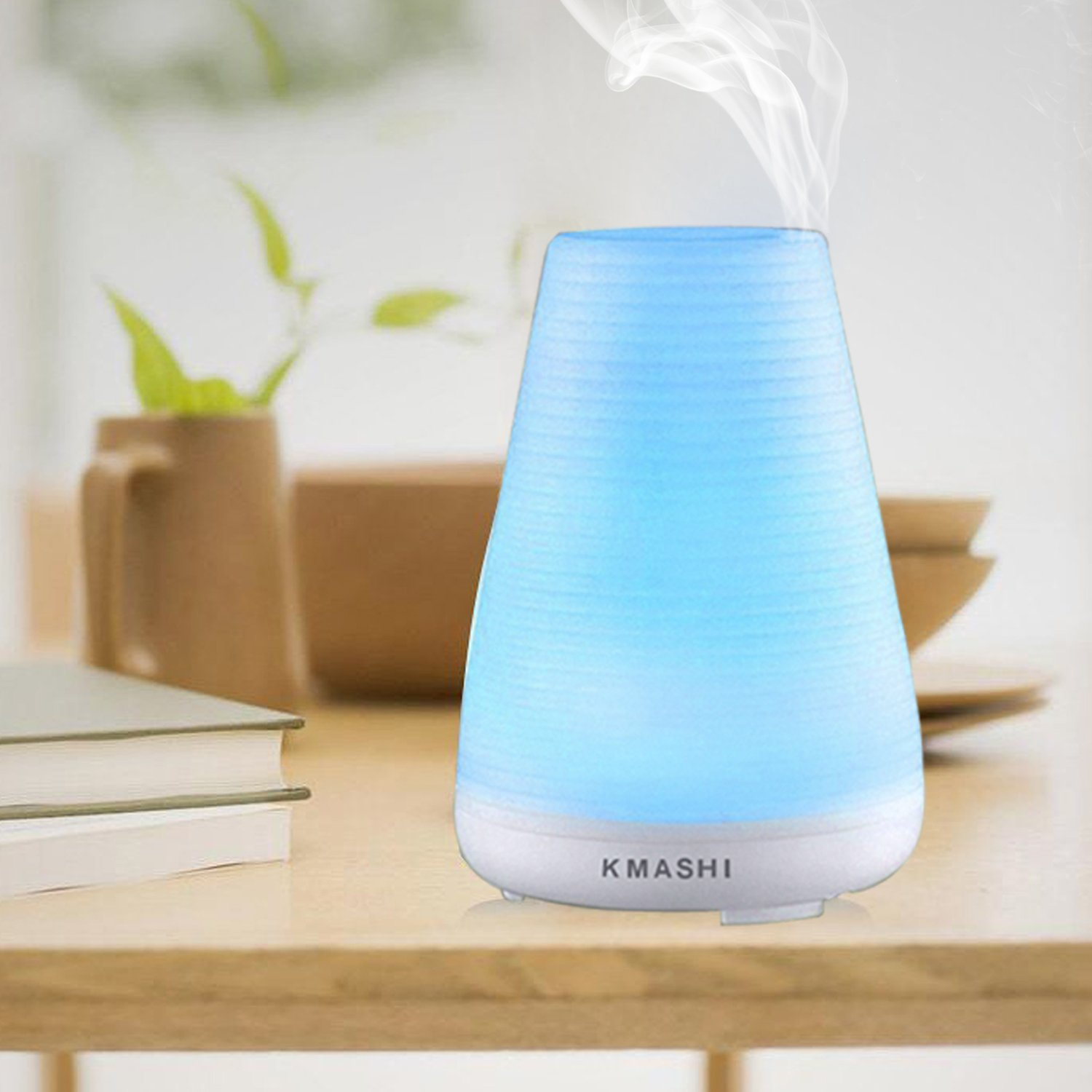 KMASHI Aromatherapy Essential Oil Diffuser,100ml Ultrasonic Air Humidifier with Adjustable Mist Mode, 7 Color Changing Lights, and Waterless Auto Shut-off Function