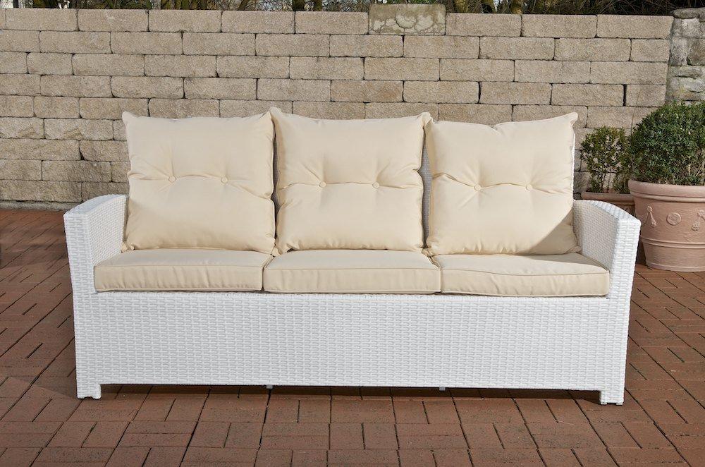 CLP Polyrattan 3er Sofa FISOLO, mit Aluminium Gestell - 100% rostfrei - inkl. Kissen & Auflagen, aus 4 Farben wählen weiß