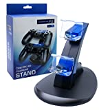 PS4 Controller Charger Charging Station, U-Tote Dual USB Charging Station for Sony PlayStation 4 PS4 Controller and PS4 Pro Controller---Black