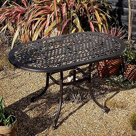 Gartengarnitur Elise 136 x 81cm Ovale Aluminium Gartensitzgruppe Gartenmöbel Set - 1 ELISE Tisch + 4 MARY Stuhle