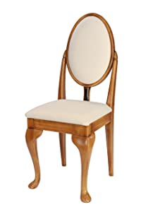 Light Oak Dressing Table/Bedroom Chair with Queen Anne legs and Ivory fabric cushions       review and more description