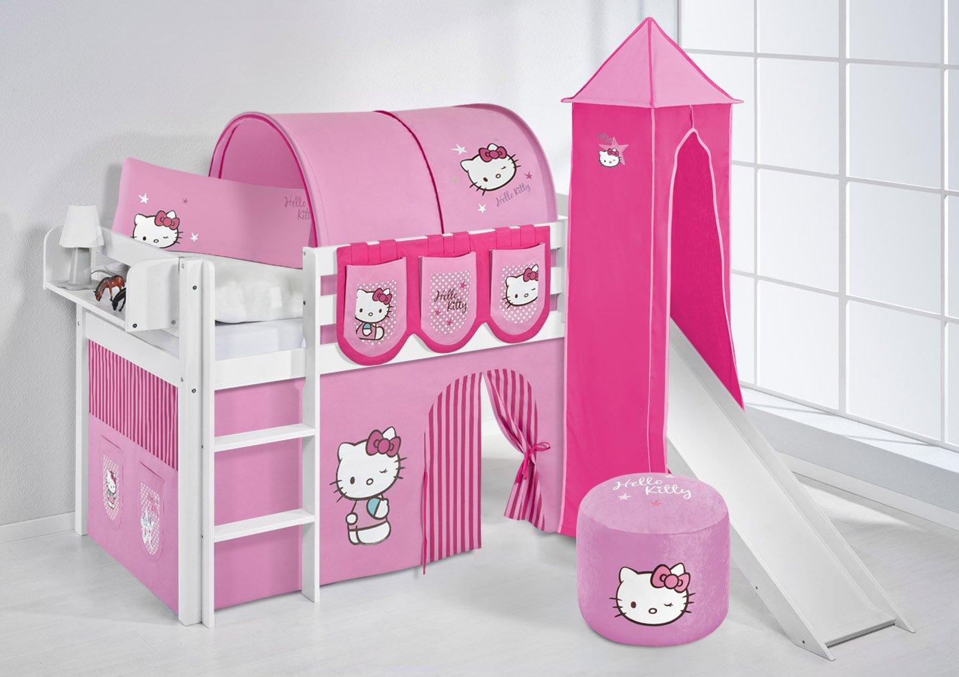 Spielbett JELLE Hello Kitty Rosa Lilokids The Explorer Hochbett LILOKIDS Weiß mit Turm Rutsche und Vorhang kiefer günstig