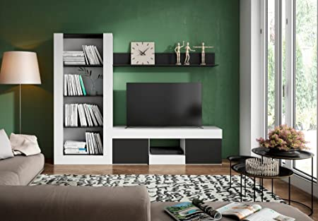 Hogar24.es-Mueble salón /comedor moderno TV acabado blanco y negro