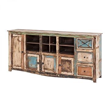 Sideboard Vintage Holz Bunt Massiv bemalt lackiert Kommode 193 cm Breit Mango Massivholz