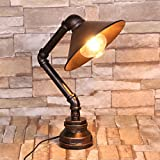 Frideko Vintage Industrial Iron Water Pipes Table Lamp for Bedside Desk - Lampshade Style ~ Nice Home Decor (Color: Lampshade Style)