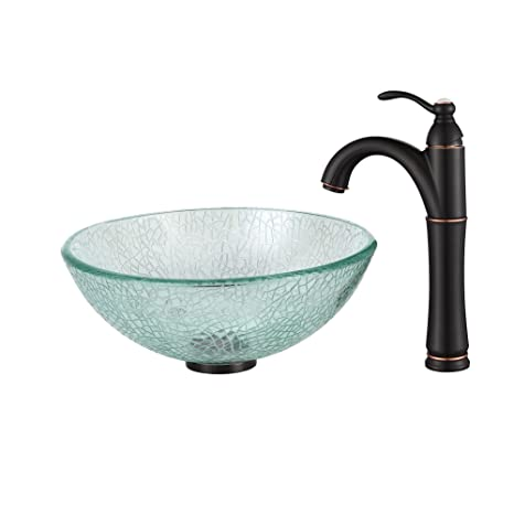 "Kraus C-GV-500-14-12mm-1005ORB Broken Glass 14"" Vessel Sink and Riviera Faucet Oil Rubbed Bronze"