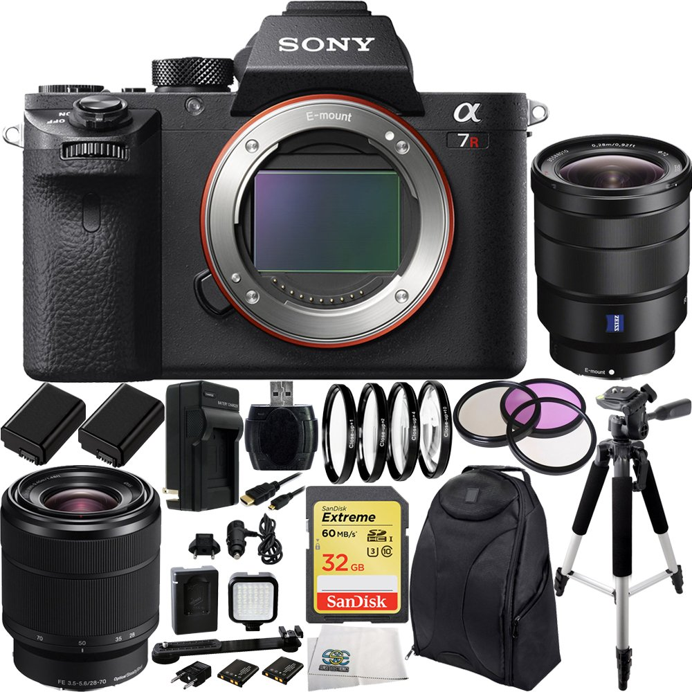 Sony Alpha a7R Mark II a7R II a7RII ILCE7RM2/B Mirrorless Camera w/ FE 28-70mm f/3.5-5.6 OSS Lens & Sony Vario-Tessar T* FE 16-35mm f/4 ZA OSS Lens 32GB 17PC Bundle. Includes SanDisk 32GB Extreme SDHC Class 10 Memory Card (SDSDXN-032G-G46)  ...
